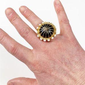 J Crew Gold Black White Enamel Cocktail Ring